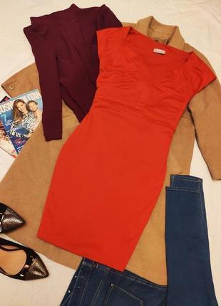 Красное алое платье батал большое трикотажное плотное стрейчевое wallis