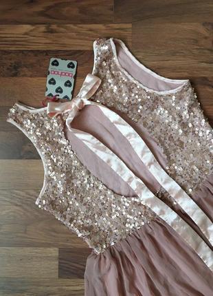 Новое с биркой красивое нарядное пудровое платье в пайетки l