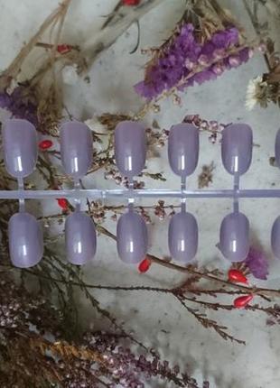 Комплект накладных ногтей 24 шт лилового пыльно-фиолетового цвета