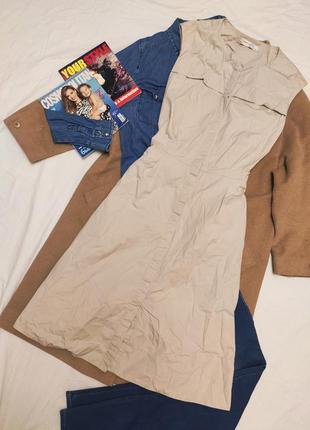 Бежевое серое платье миди на поясе плащевка с карманами хлопок коттон зара zara