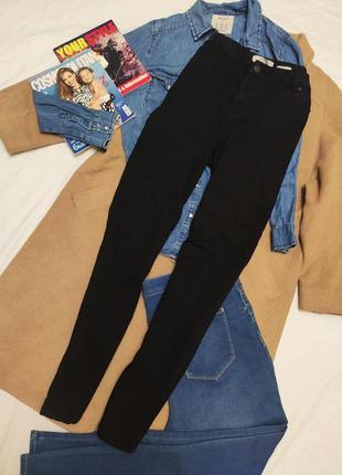 New look брюки джинсы хлопковые чёрные скинни высокая посадка