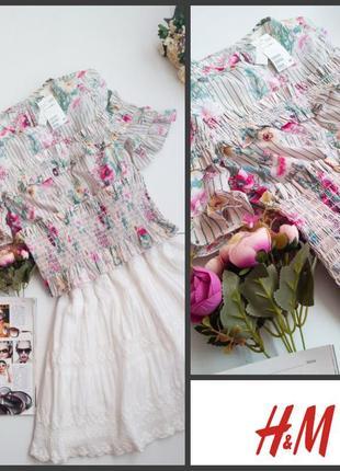 Романтичная блуза рубашка топ с цветочным рисунком хлопок от h&m