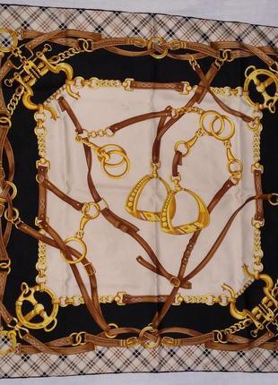 Hermes стиль платок 87*87 шов роуль шёлк