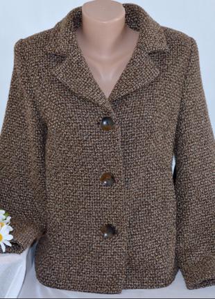 Брендовое коричневое шерстяное демисезонное пальто полупальто с карманами papaya