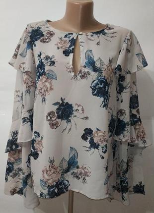 Новая стильная блуза в розы forever 21 uk 12/40/m