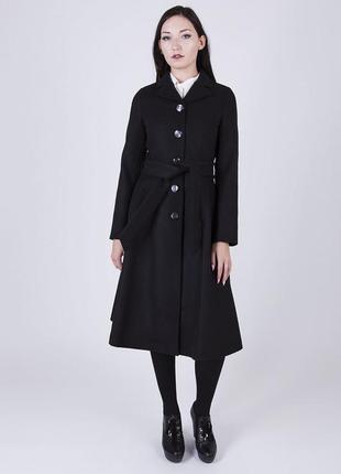 Черное демисезонное пальто с поясом и карманами atmosphere шерсть вискоза