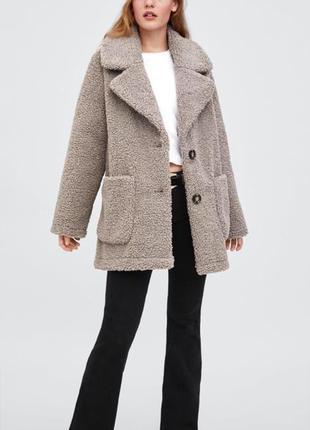 Шубка пальто пиджак  дубленка zara под каракуль размер s m