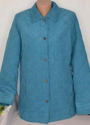 Брендовая бирюзовая стеганая демисезонная утепленная куртка с карманами eastex синтепон