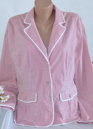 Брендовый пиджак жакет блейзер с карманами в полоску brandtex коттон этикетка
