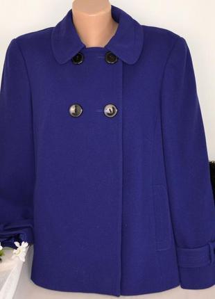Брендовое синее демисезонное пальто полупальто с карманами bhs вьетнам шерсть этикетка