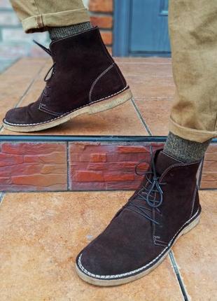 Мужские, кожаные, высокие ботинки, дезерты, замша 41 размер, seboy's