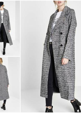 """Длинное двубортное пальто в клетку и """"елочку"""""""