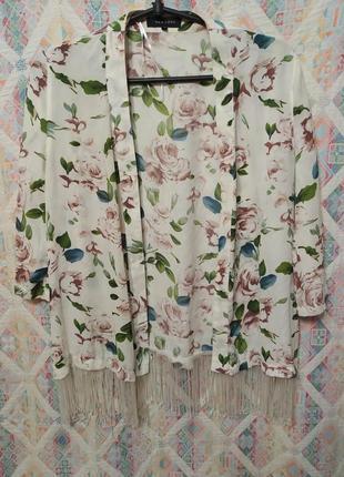 Накидка кардиган кимоно бахрома блуза