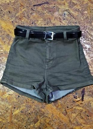 Джинсовые шорты / эластичные шортики / высокая талия  / завышенная посадка цвета хаки