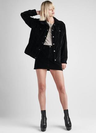 Черная вельветовая юбка некст