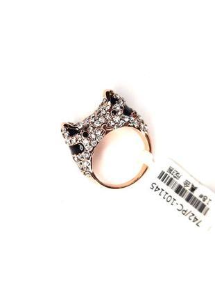 Милое кольцо кот в стразах