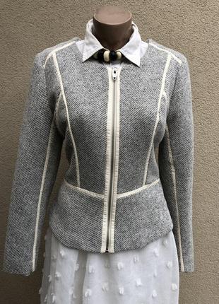 Фактурный жакет(пиджак) на молнии с белой кожаной окантовкой (хлопок,полиэстер) h&m