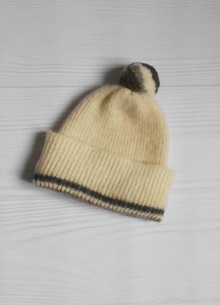 Шерстяная теплая зимняя вязаная шапка с помпоном 🌺