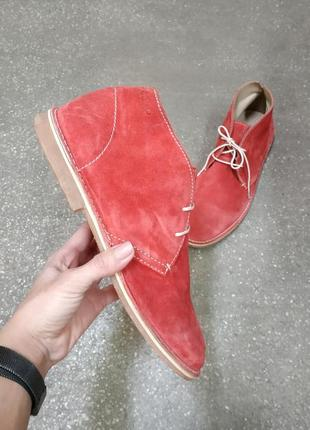 Ecco, замшевые ботинки, туфли, дезерты, коралловый