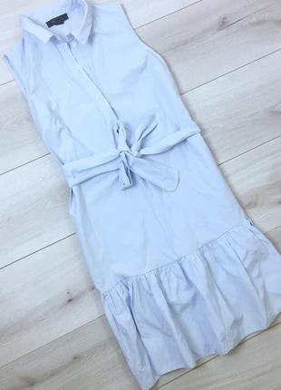 Хлопковое платье с рюшами с поясом
