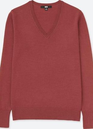 Uniqlo свитер тонкая полированная шерсть мериноса