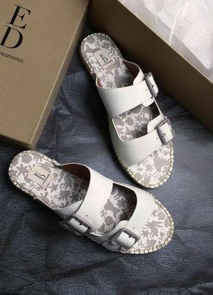 Ed ellen degeneres оригинал молочно-белые кожаные сандалии на застежках