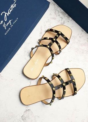 Massimo matteo оригинал черные кожаные сандалии с шипами