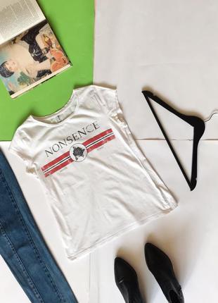 🔻🔻🔻 стильная белая футболка cropp с рисунком. м