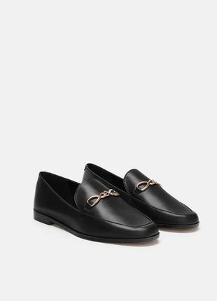 Распродажа! новые кожаные туфли лоферы zara натуральная кожа