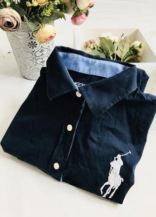 Рубашка polo ralph lauren, тёмно-синяя рубашка