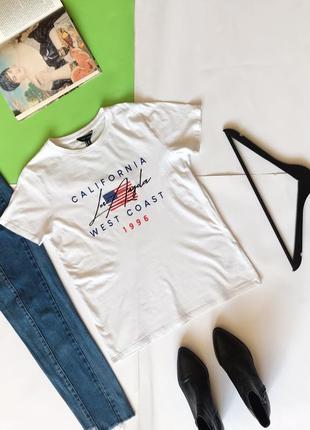 🔻🔻🔻 стильная белая футболка new look с надпись. 12/40/l
