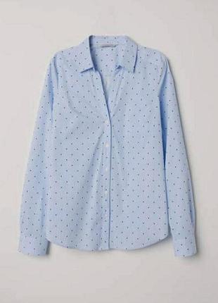 Коттоновая рубашка в мелкую полоску и цветочки