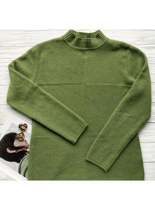 Зелёный оливковый кашемировый 100% кашемир джемпер гольф кофта свитер светр