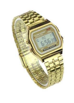 Наручные электронные часы мужские с золотистым браслетом код 453