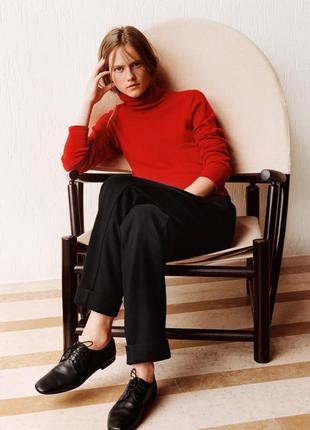 Красный кашемировый 100% кашемир гольф свитер светр водолазка uniqlo and lemaire