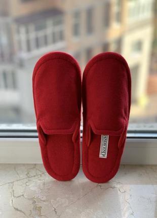 Домашние шерстяные тапочки бренда lands' end красные