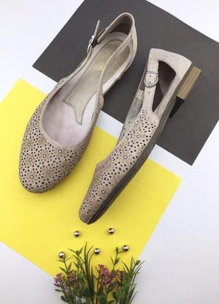 Кожаные туфли с перфорацией rieker