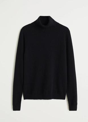 Черный кашемировый 100% кашемир гольф водолазка свитер светр кофта с горлом