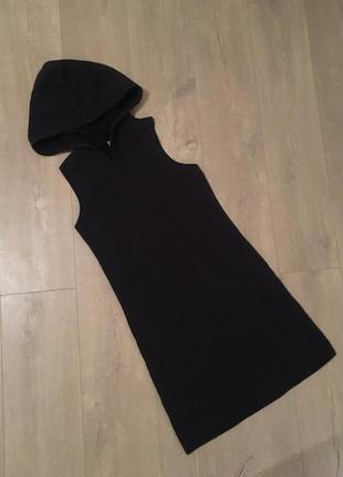 Стильное плотное спортивное черное платье двухнитка размер m
