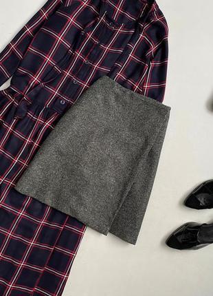 Крутая шерстяная юбка на запах mango
