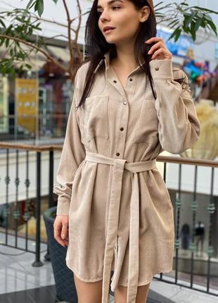 Вельветое платье рубашка
