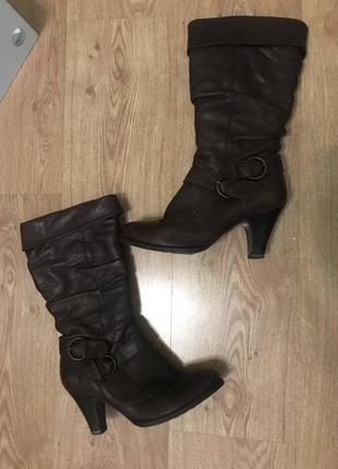 Сапоги aldo кожаные коричневые на низком каблуке