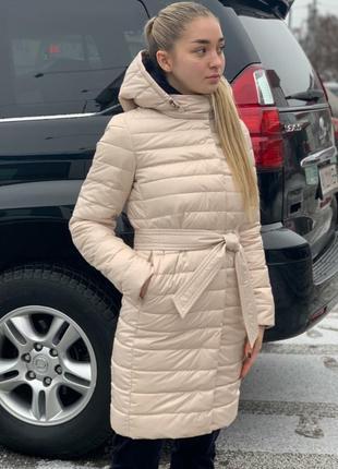 Удлиненная дэми куртка с поясом и капюшоном, размер 54