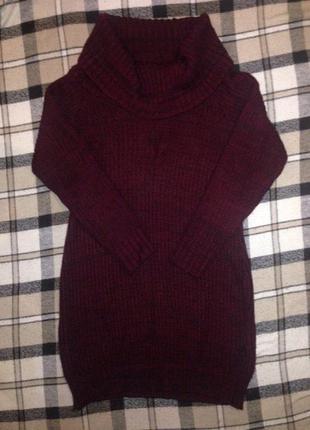 Теплое платье-свитер с красивой горловиной