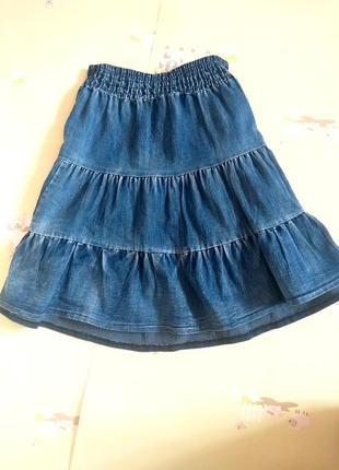 Джинсовая юбка с потертостями