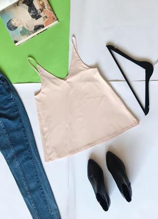 Шикарная двухслойная майка блуза под шифон нюдового цвета. 🔻🔻🔻