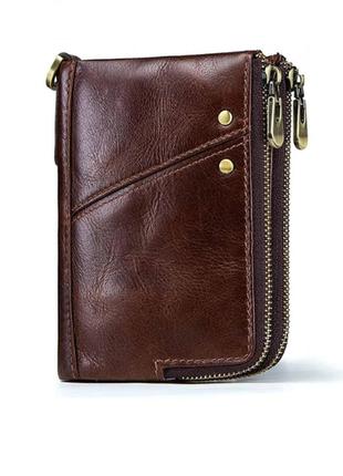 Стильный кожаный коричневый мужской кошелек натуральная кожа