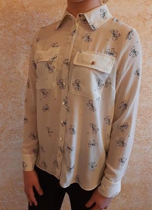 Льняная и шёлковая блуза блузка рубашка длинный рукав