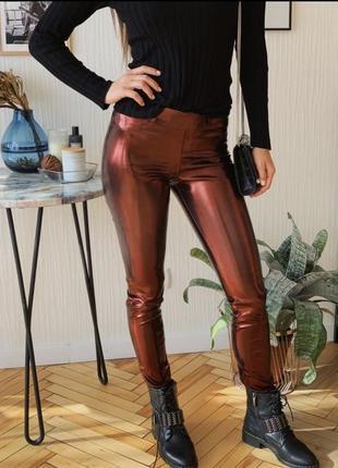 Лосины эко кожа леггинсы брюки штаны голограмма