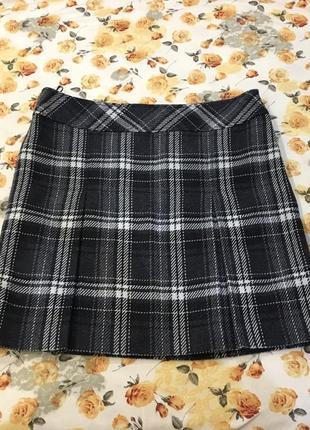 Тёплая легкая юбка в клетку 25% шерсть